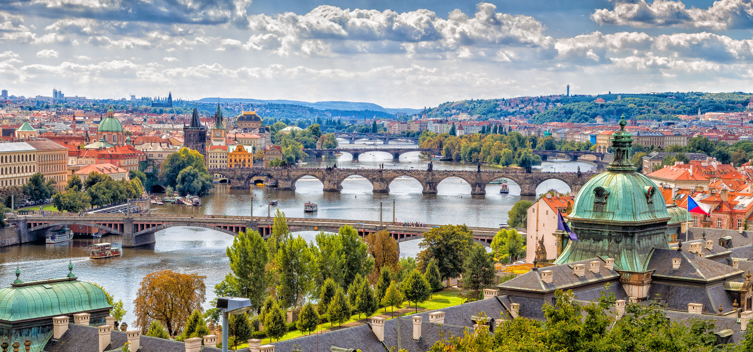 View of bridges on the Vltava river and the historical center of Prague, Czech Republic