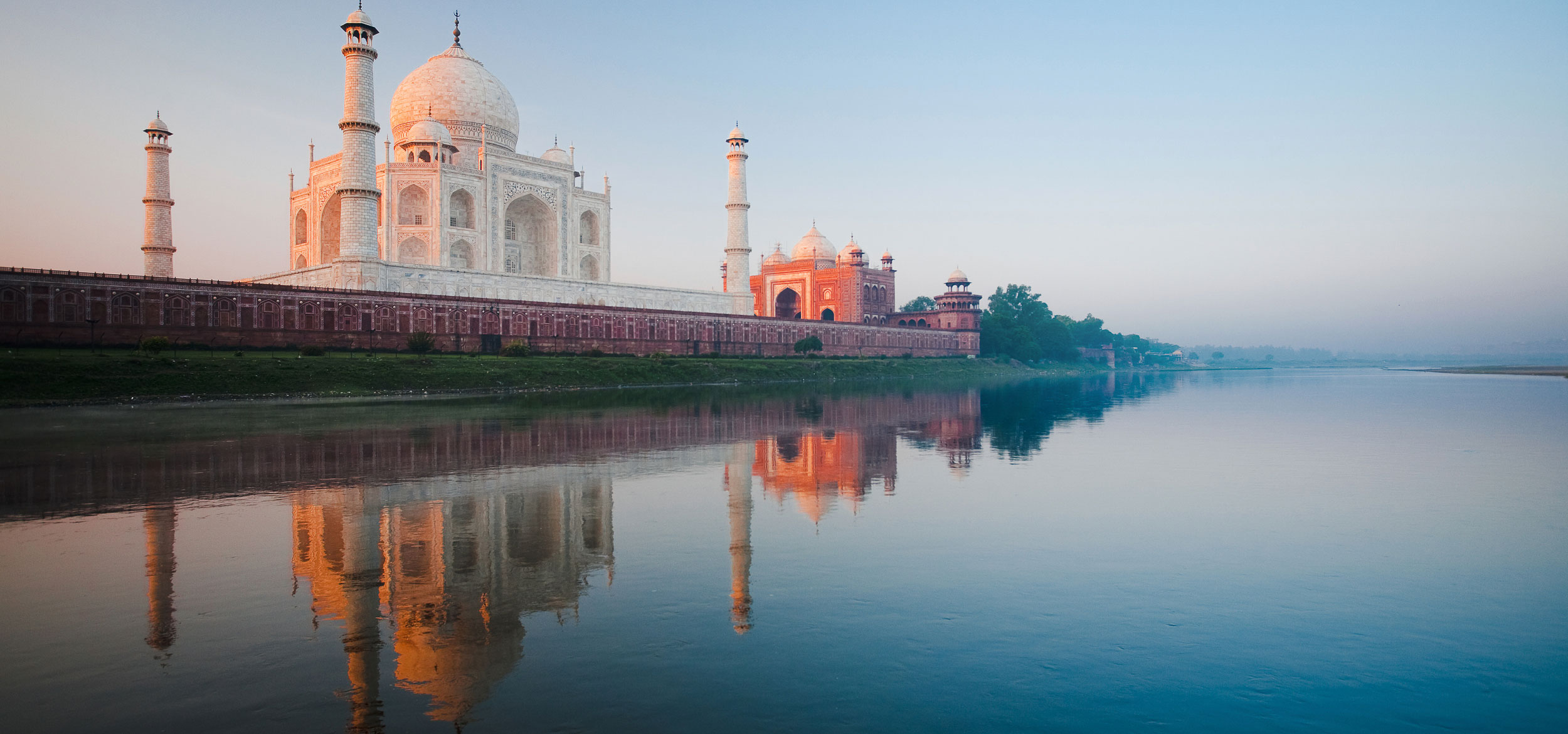 View of the Taj Mahal from Yamuna River in Agra, India.