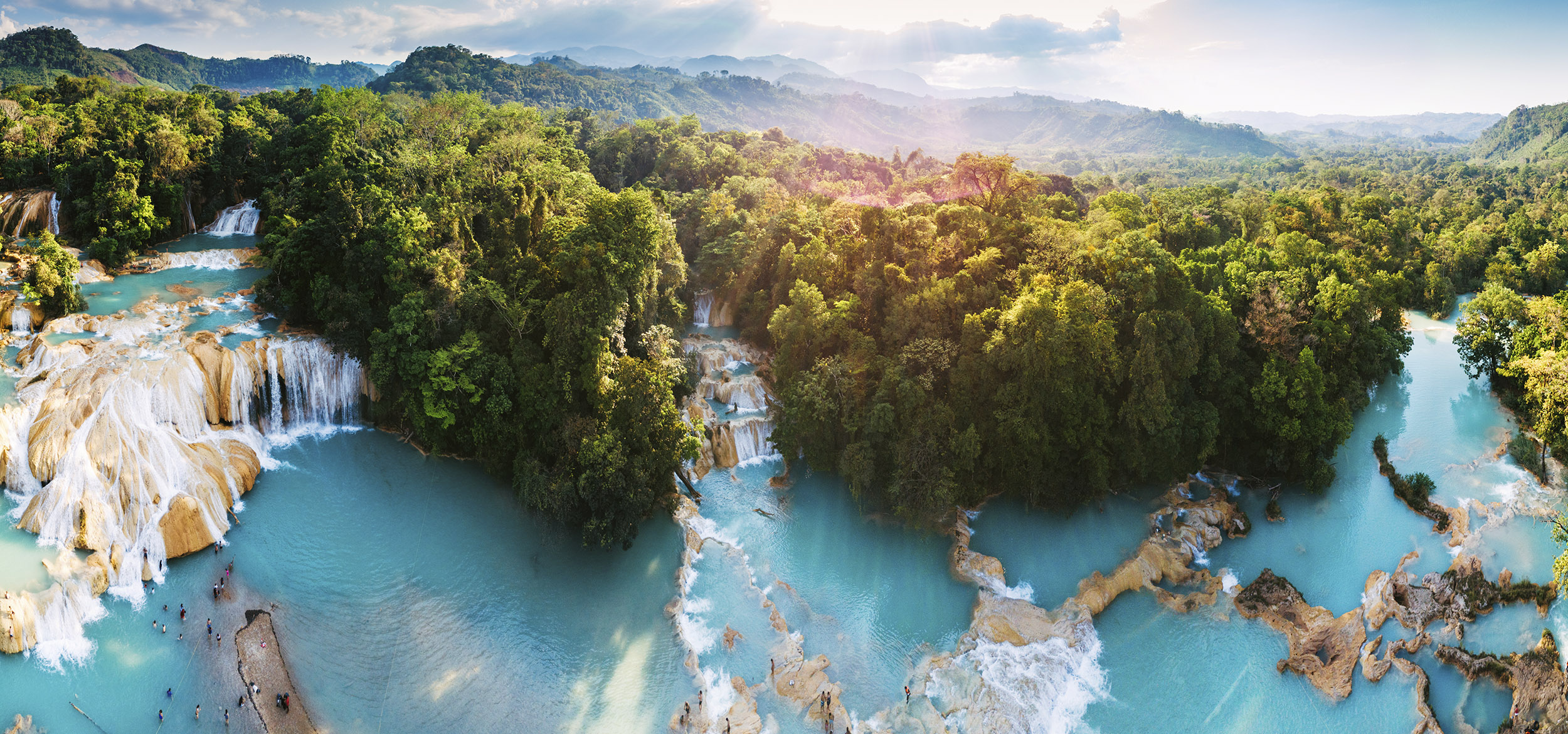 An aerial view of the Agua Azul Waterfalls in Chiapas, Mexico.