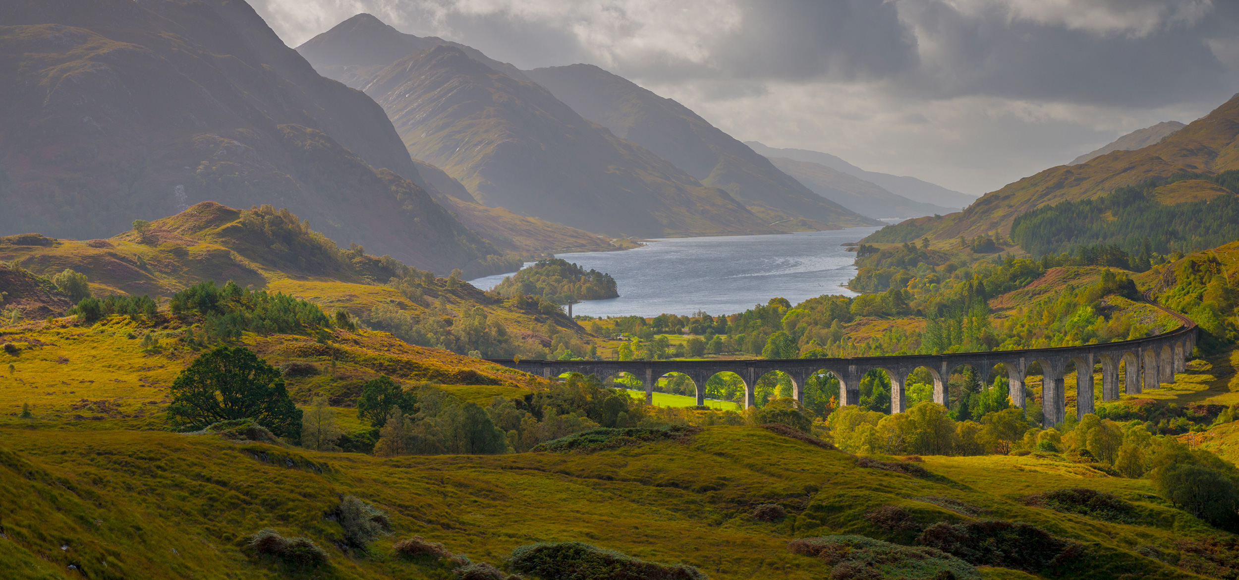 Glenfinnan Railway Viaduct, part of the West Highland Line, Glenfinnan, Loch Shiel, Highlands, Scotland, United Kingdom.