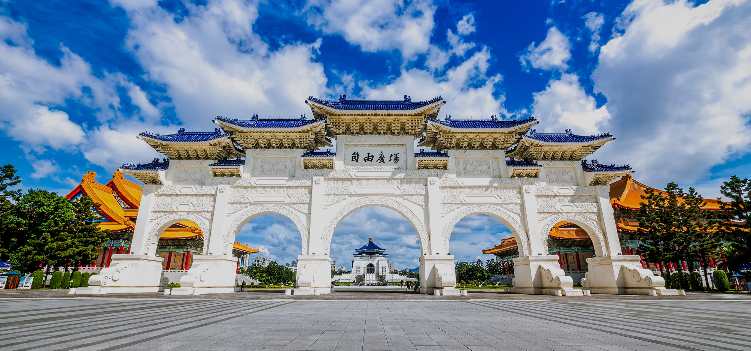 A view of Chiang Kai-shek Memorial Hall at sunset in Taipei, Taiwan.