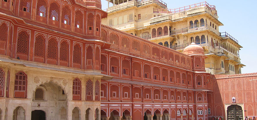The Pink Palace in Jaipur, India, on a bright, sun shiny day.