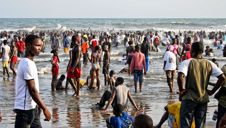 Crowded Labadi Beach in Accra, Ghana.