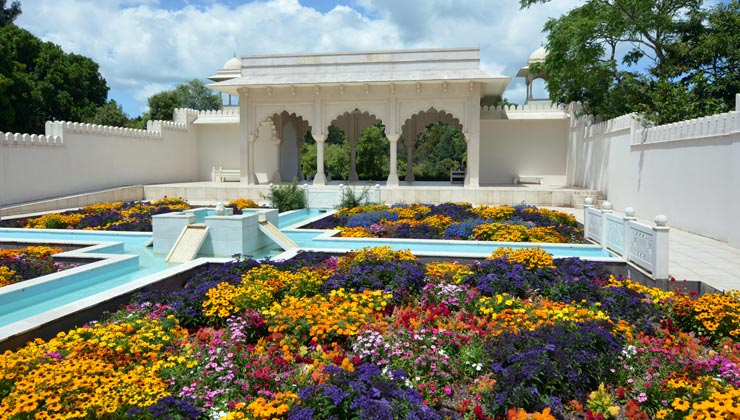 Indian Char Bagh Garden at Hamilton Gardens with fountains and lush flowers