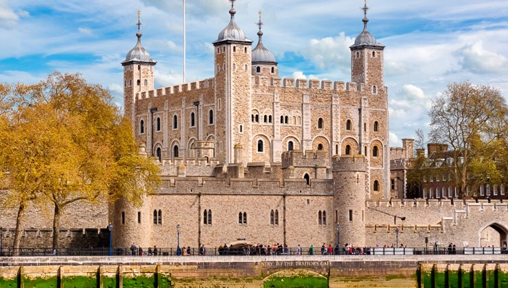 View of Tower of London in London, England.