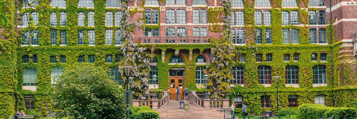 Campus building covered in Ivy in Lund, Sweden.