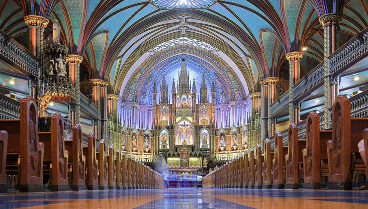 Interior of Notre-Dame Basilica of Montreal.