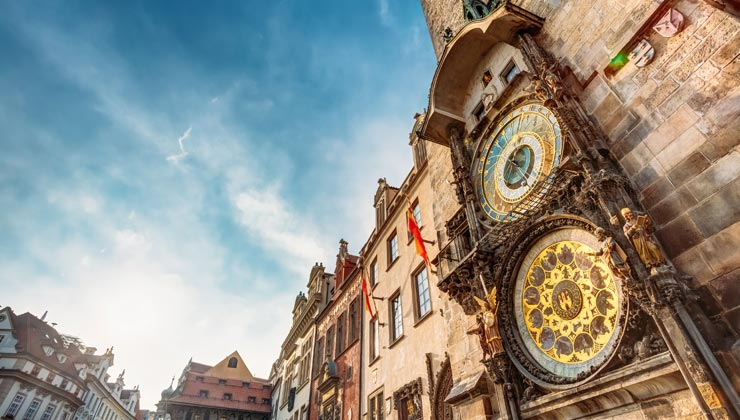 View of the clock looking up in Prague, Czech Republic.