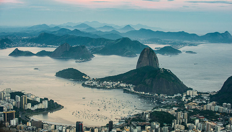 Aerial View of Sugarloaf in Rio de Janeiro, Brazil.