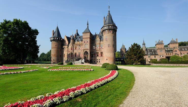 Castle de Haar and garden in Utrecht, Netherlands.