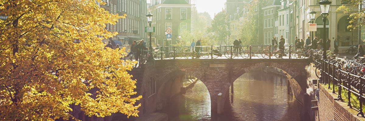 The Oude Gracht in the historic center of the city in Utrecht, Netherlands.