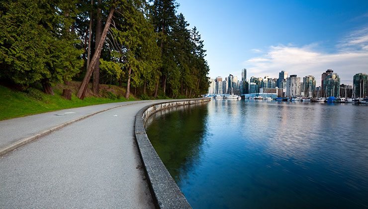 View of Stanley Park with the water and city in the background.