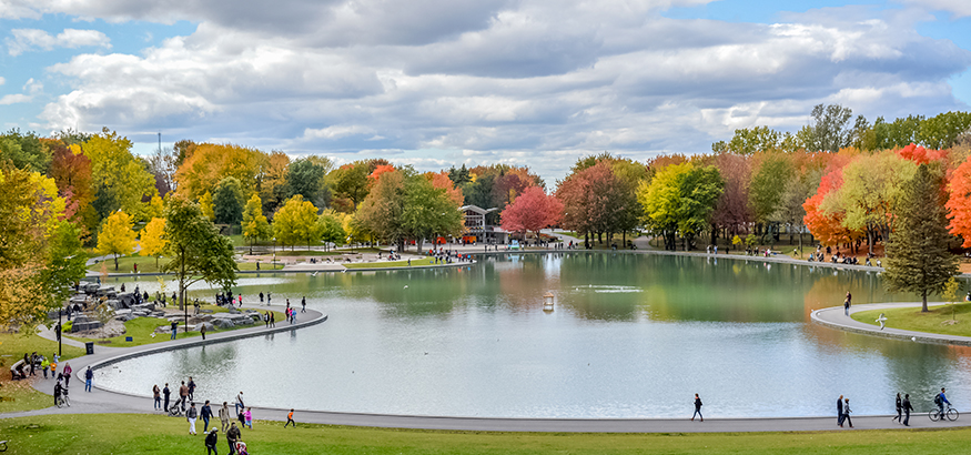 Lake in the Mount-Royal area of Montreal with autumn leaves and a blue sky above.