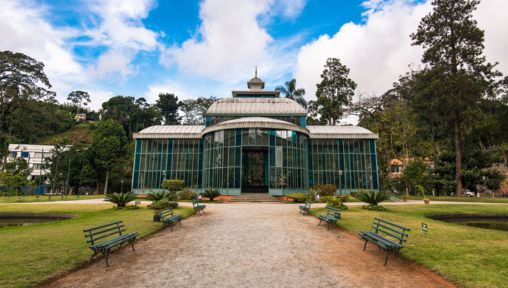The front entrance of the glass and steel structure of Crystal Palace in Petropolis, Brazil.