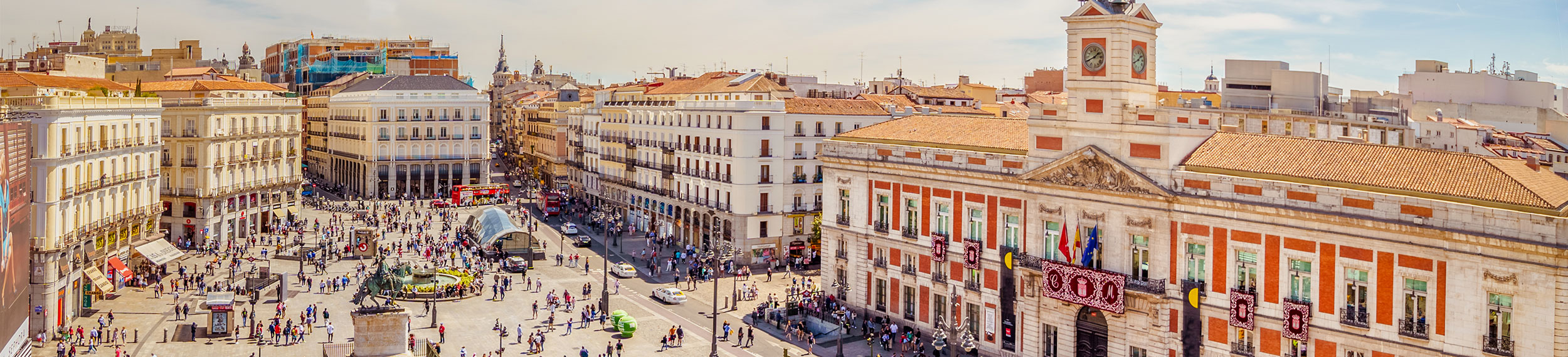The Puerta del Sol square is the main public square in the city of Madrid, Spain