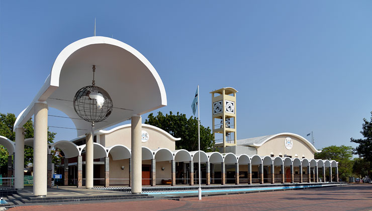 View of the Botswana Parliament building in Gaborone.