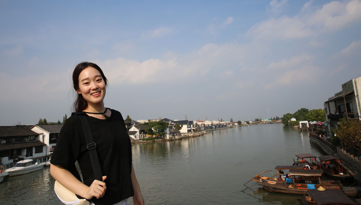 A UCEAP student visits one of the waterways in Shanghai, China.