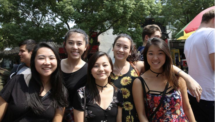 Five UCEAP students explore Shanghai, China.