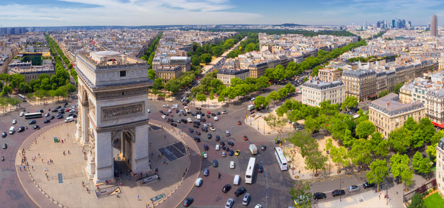An aerial view of the Arch de Triomphe in Paris, France.