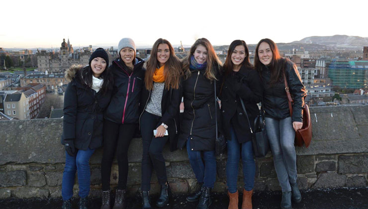 Six students posing for the camera in Edinburgh, Scotland.