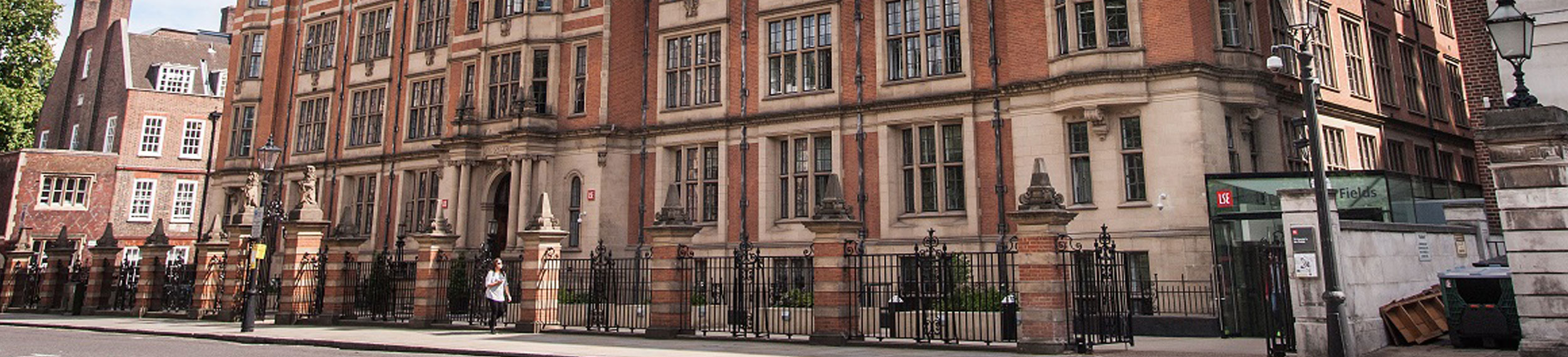 A brick building shot of London School of Economics in London, England.