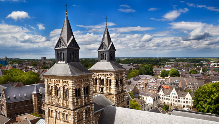 A view on Maastricht, Netherlands from the top of Saint Jan's Church.