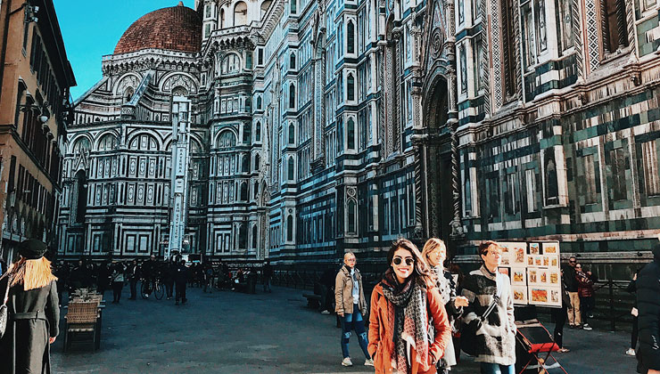 UC Santa Barbara student at the Baptistery of St. John, one of the oldest buildings in Florence, Italy.