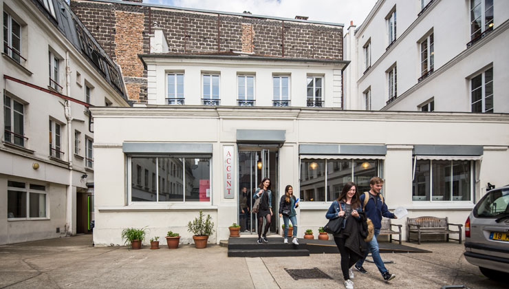 A shot of students leaving ACCENT Paris in Paris France.