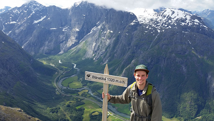 UC Santa Barbara student explores the snow covered mountains of Romsdalseggen Ridge in Norway.