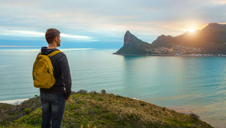 Student looking at the view in Cape Town South Africa.