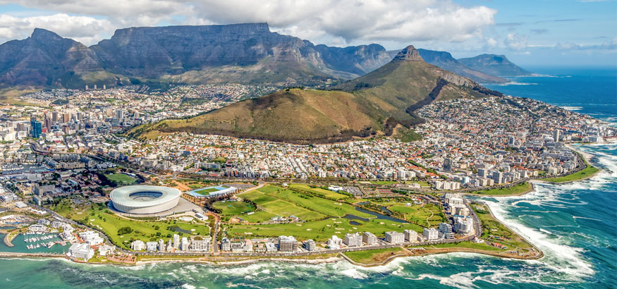 An aerial shot of Table Mountain and the Cape Peninsula in Cape Town South Africa