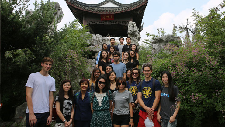 UCEAP students visit a Shanghai landmark in China.