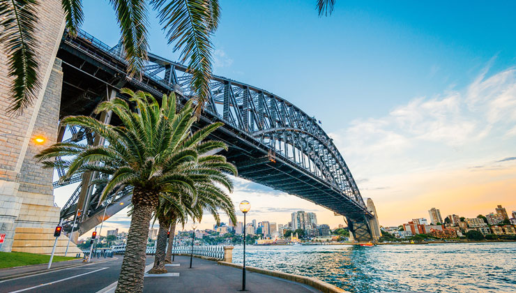 The Majestic Sydney Harbor Bridge spanning over the water in Sydney, Australia.