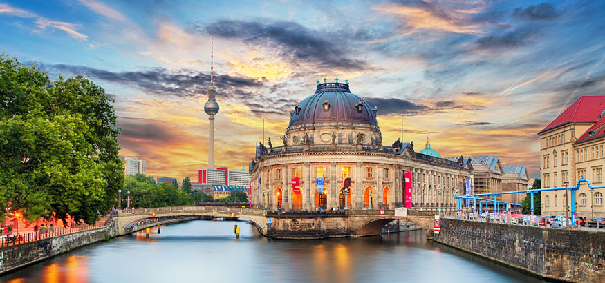 Museum island on Spree river and Alexanderplatz TV tower in the center of Berlin, Germany.