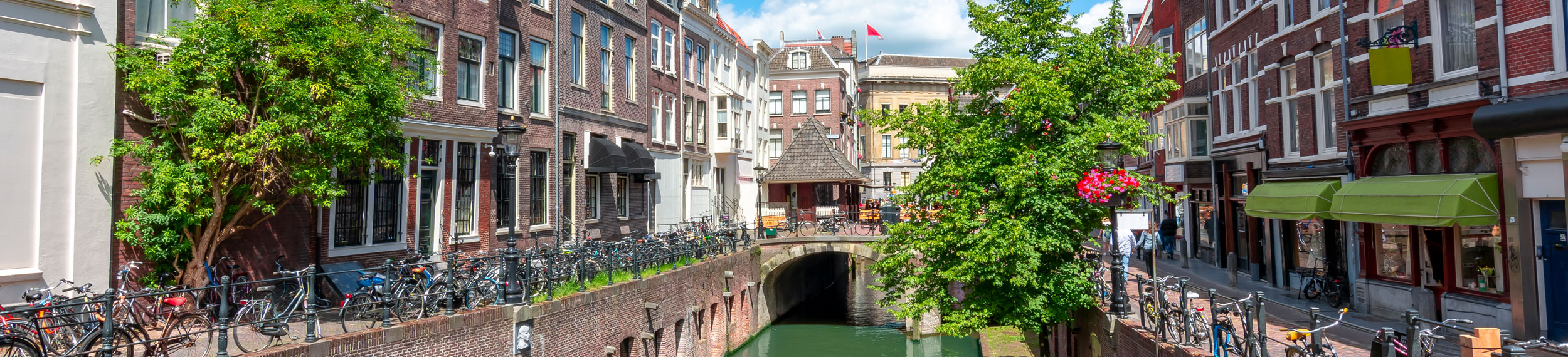 City shot of a canals and buildings in Utrecht, Netherlands.