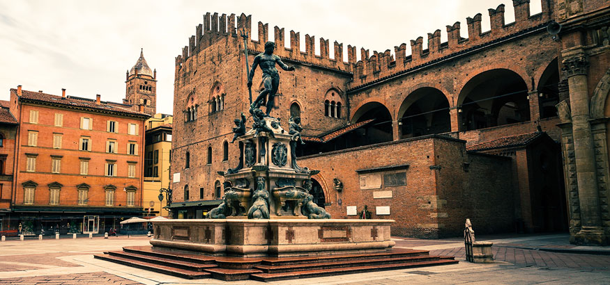 The Fountain of Neptune located in the square of Piazza del Nettuno in Bologna, Italy.