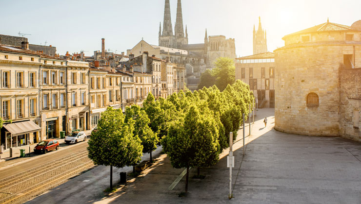 A view of the cathedral in Bordeaux, France.