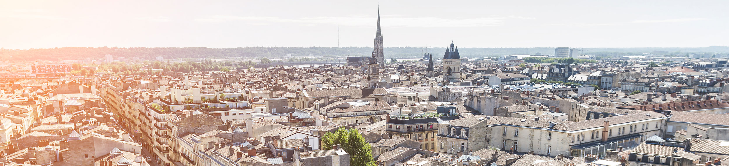Aerial view of the city in Bordeaux, France.