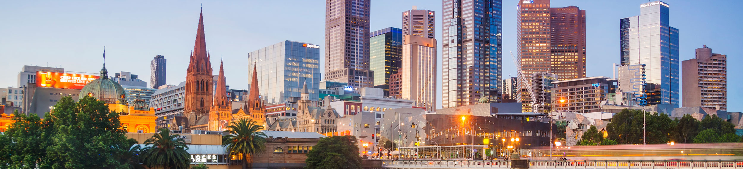 View of Yarra river and skyline at dusk in Melbourne, Australia.