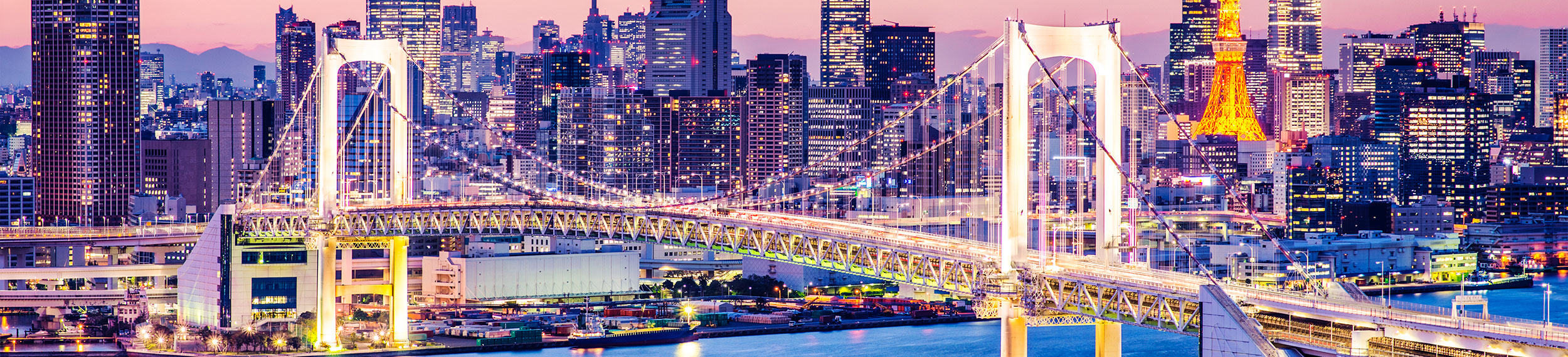 Aerial view of Tokyo cityscape lit up at night with Tokyo Tower and Rainbow Bridge in the background in Tokyo, Japan.