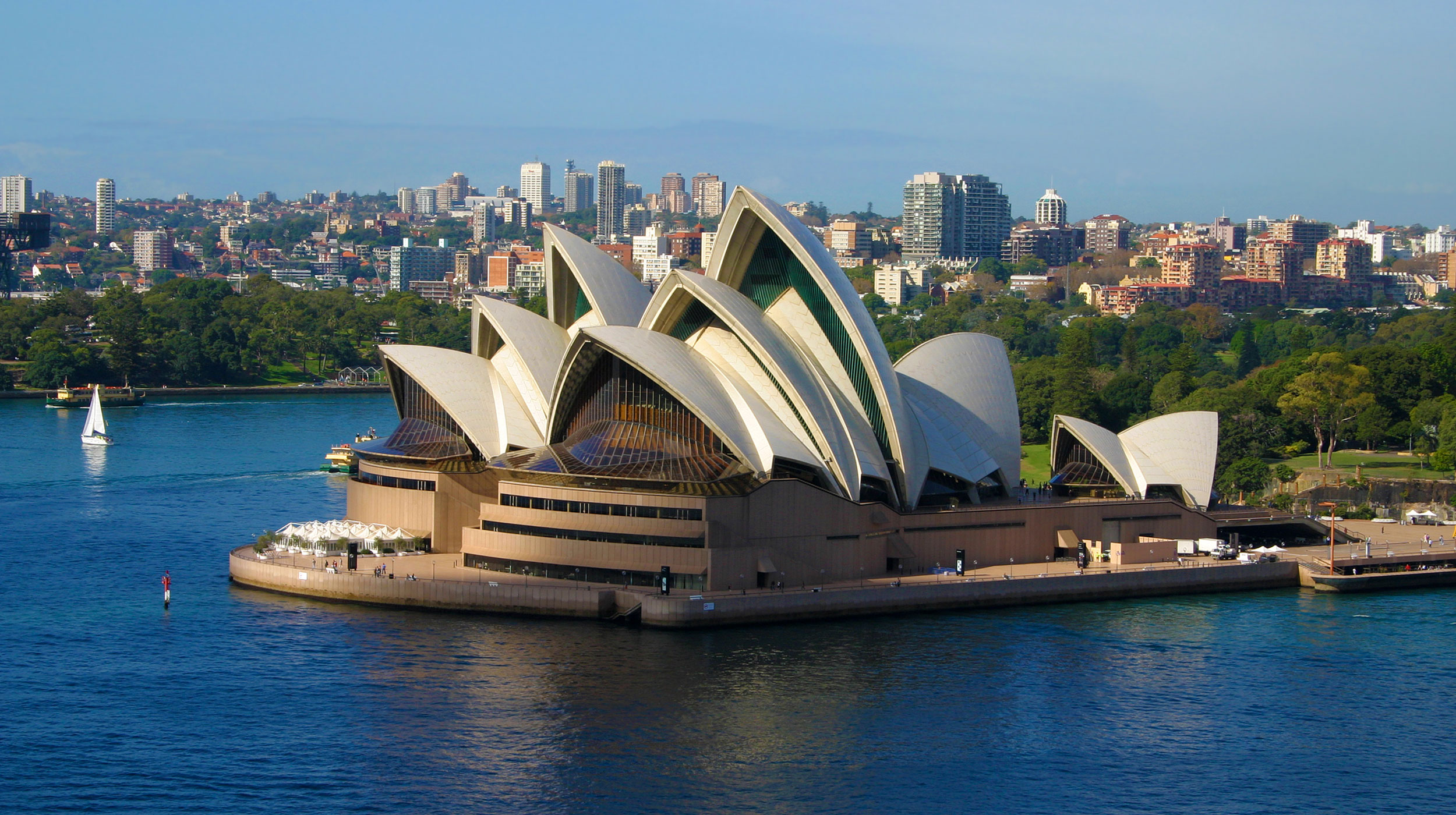 View of Sydney Opera House from above in Sydney, Australia.