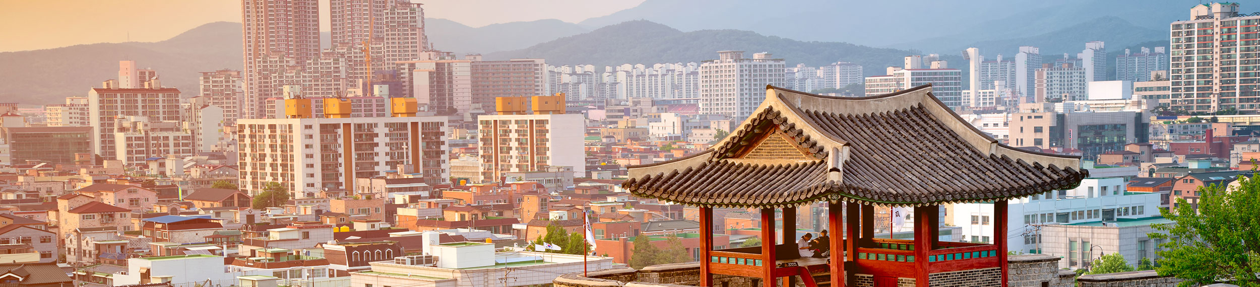 View of Suwon Hwaseong Fortress that surrounds the downtown area of Suwon City in Korea.