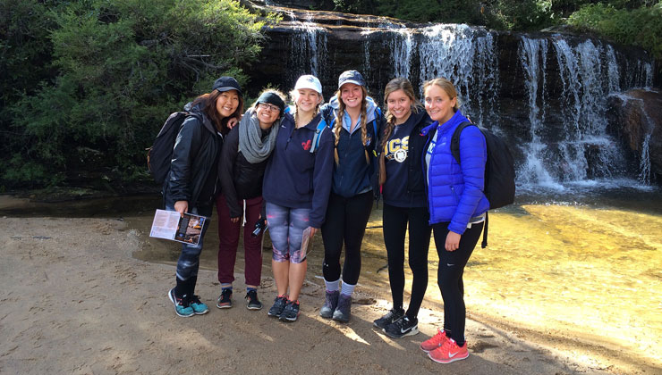 Lilly Erickson of UC Santa Barbara hiking with friends in Sydney, Australia.